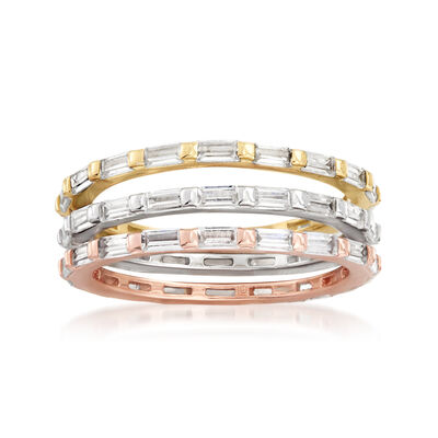 3.20 ct. t.w. Baguette CZ Jewelry Set: Three Rings in Rose and Yellow 18kt Gold Over Sterling and Sterling Silver