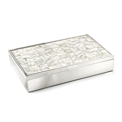 Reed & Barton Mother-Of-Pearl Jewelry Box in Stainless Steel, , default