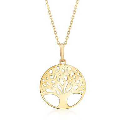 18kt Yellow Gold Tree of Life Pendant Necklace, , default