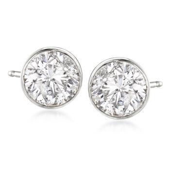 2.00 ct. t.w. Bezel-Set Diamond Stud Earrings in 14kt White Gold, , default