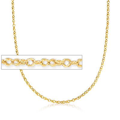Italian 18kt Yellow Gold Rope-Link Chain Necklace, , default