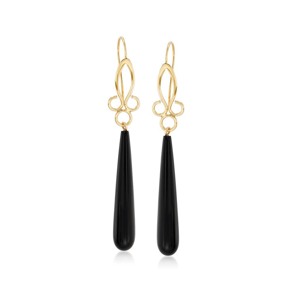 Long Teardrop Black Onyx Drop Earrings In 14kt Yellow Gold Default