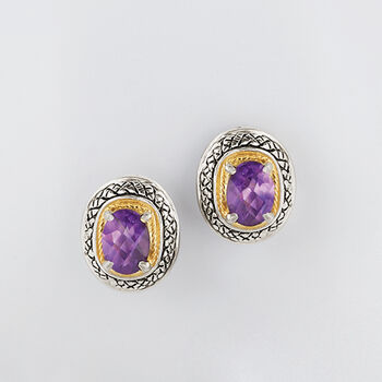 1.70 ct. t.w. Amethyst Earrings in Sterling Silver and 14kt Yellow Gold