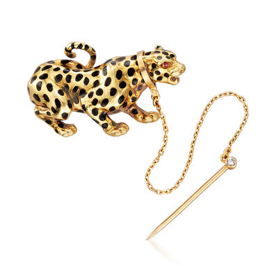 C. 1970 Vintage 18kt Yellow Gold and Black Enamel Panther Pin with Synthetic Ruby Accents