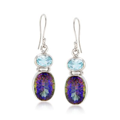 3.00 ct. t.w. Blue Topaz and 12.00 ct. t.w. Multicolored Quartz Drop Earrings in Sterling Silver , , default
