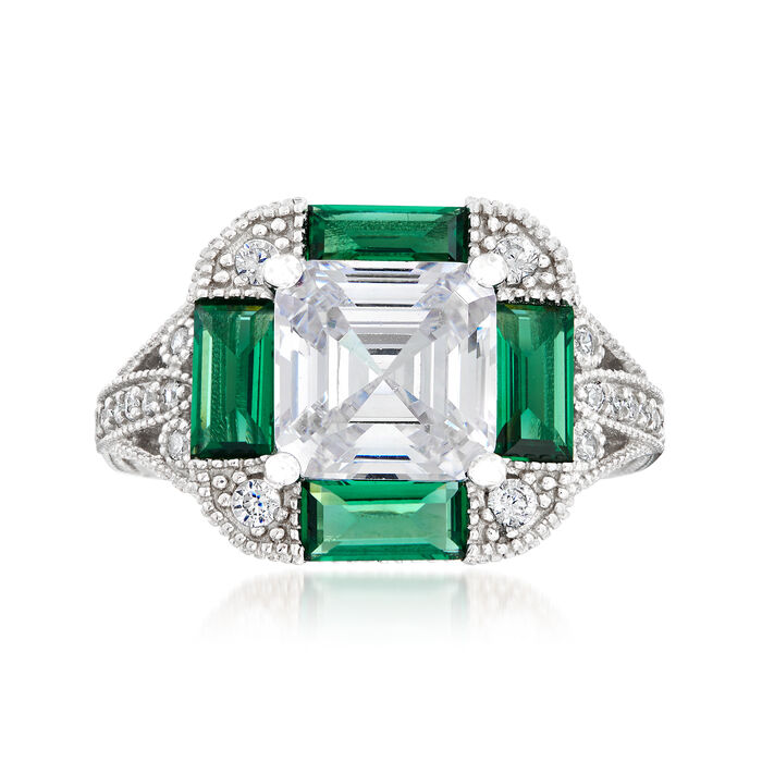 3.10 ct. t.w. CZ and 1.60 ct. t.w. Simulated Emerald Ring in Sterling Silver