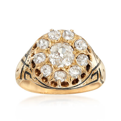 C. 1940 Vintage 1.22 ct. t.w. Diamond Ring With Black Enamel in 14kt Yellow Gold, , default