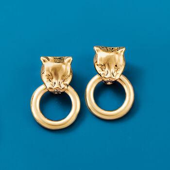 Andiamo 14kt Yellow Gold Panther Head Doorknocker Earrings