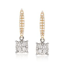 .50 ct. t.w. Diamond Illusion Drop Earrings in 14kt Two-Tone Gold, , default