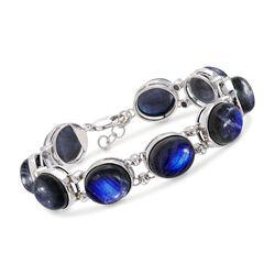 Oval Labradorite Bracelet in Sterling Silver, , default