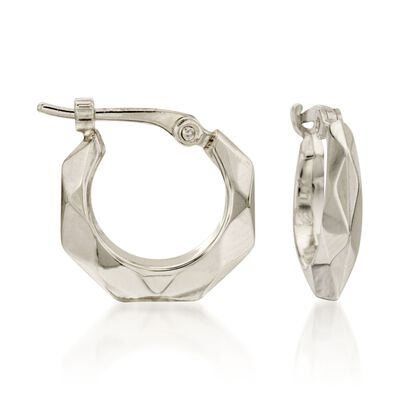 14kt White Gold Faceted Hoop Earrings, , default