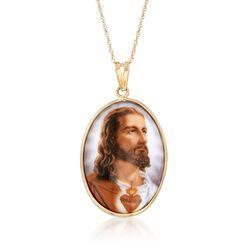 "Enameled Porcelain Sacred Heart of Christ Pendant Necklace in 14kt Yellow Gold. 18"", , default"