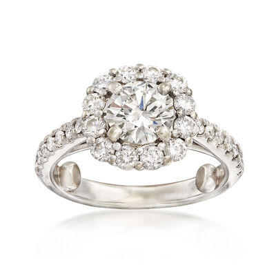C. 2000 Vintage 1.79 ct. t.w. Diamond Halo Ring in 14kt White Gold, , default