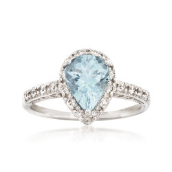 1.30 Carat Aquamarine and .45 ct. t.w. Diamond Ring in 14kt White Gold, , default