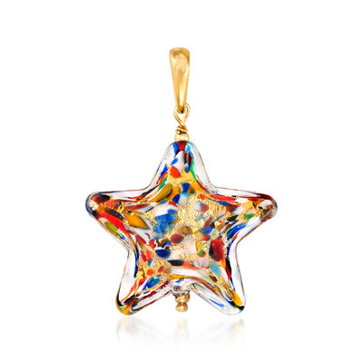 Italian Murano Glass Multicolored Star Pendant with 18kt Gold Over Sterling