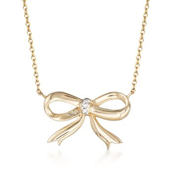 "14kt Two-Tone Gold Diamond-Cut Bow Necklace. 20"", , default"