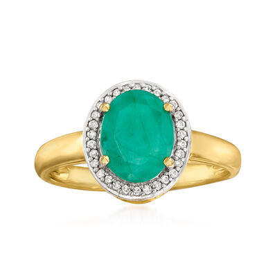 1.50 Carat Emerald Halo Ring with Diamond Accents in 14kt Yellow Gold