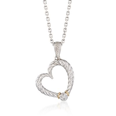"""Phillip Gavriel """"Italian Cable"""" Diamond-Accented Heart Pendant Necklace in Sterling Silver and 18kt Gold, , default"""