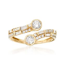 .75 ct. t.w. Baguette and Round Diamond Bypass Ring in 14kt Yellow Gold. Size 5, , default