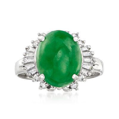 C. 1980 Vintage Jade and .32 ct. t.w. Diamond Ring in Platinum