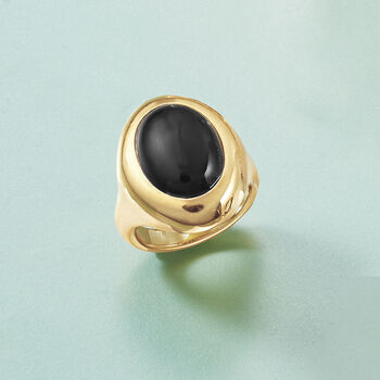 Andiamo 14kt Yellow Gold and Black Onyx Ring, , default