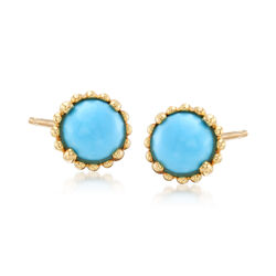 Italian Simulated Turquoise Stud Earrings in 14kt Yellow Gold , , default