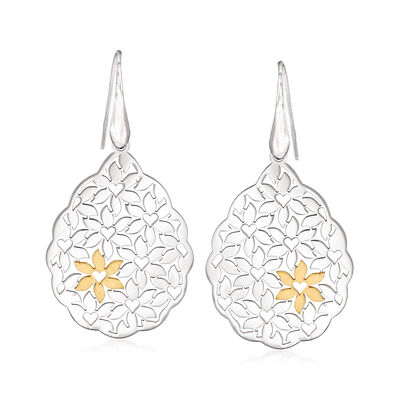 Italian Two-Tone Sterling Silver Floral Drop Earrings