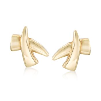 Italian 14kt Yellow Gold Crisscross Clip-On Earrings, , default