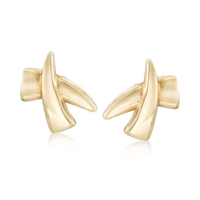 Italian 14kt Yellow Gold Crisscross Clip-On Earrings, , default