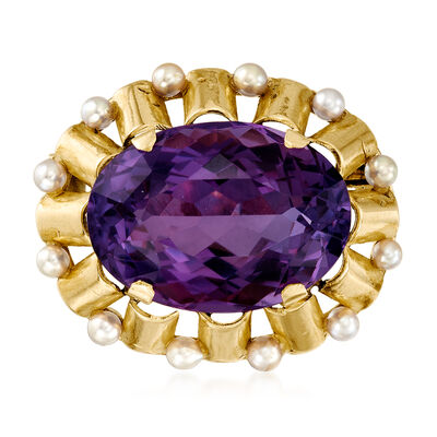C. 1940 Vintage 3mm Cultured Pearl and 31.00 Carat Amethyst Pin in 14kt Yellow Gold