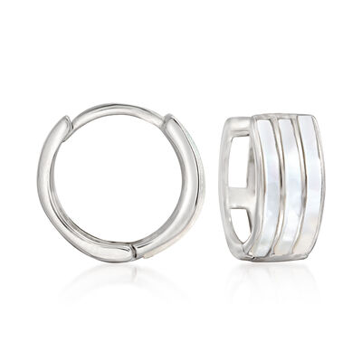 Sterling Silver and White Enamel Huggie Hoop Earrings , , default