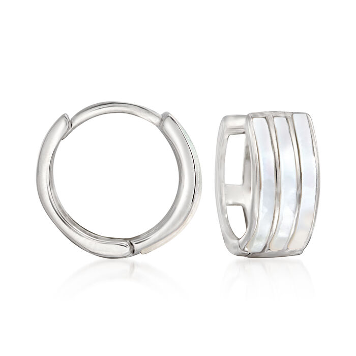 "Sterling Silver and White Enamel Huggie Hoop Earrings. 1/2"", , default"