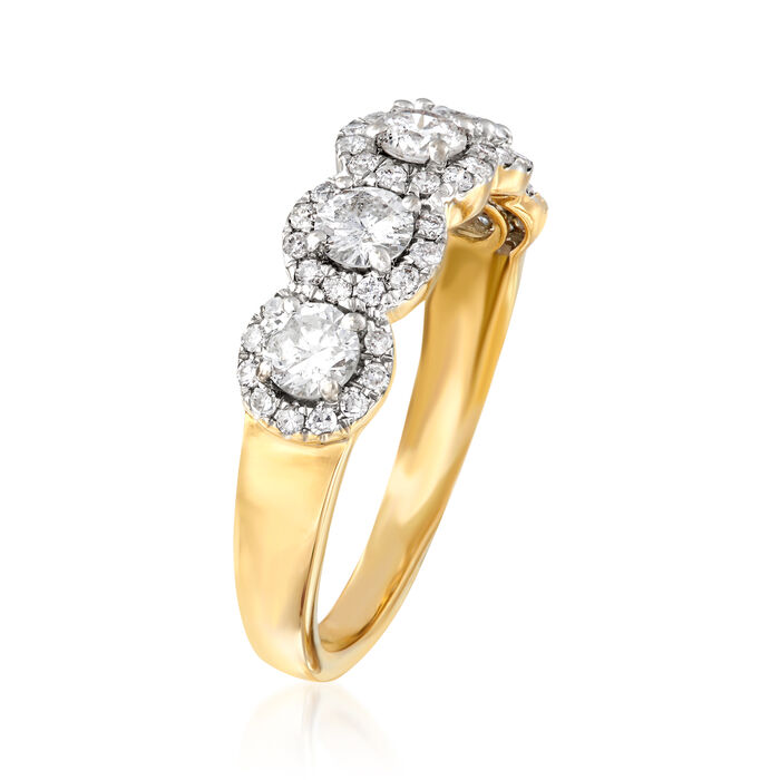 1.00 ct. t.w. Diamond Five-Stone Halo Ring in 14kt Yellow Gold