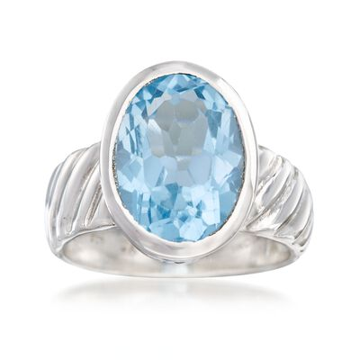 6.75 Carat Bezel-Set Blue Topaz Ring in Sterling Silver, , default