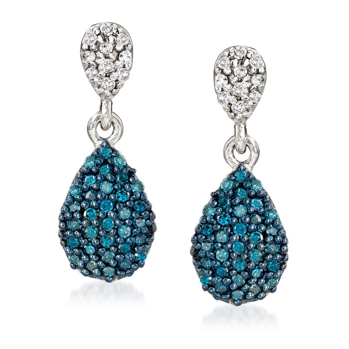 .47 ct. t.w. Pave Blue and White Diamond Drop Earrings in Sterling Silver