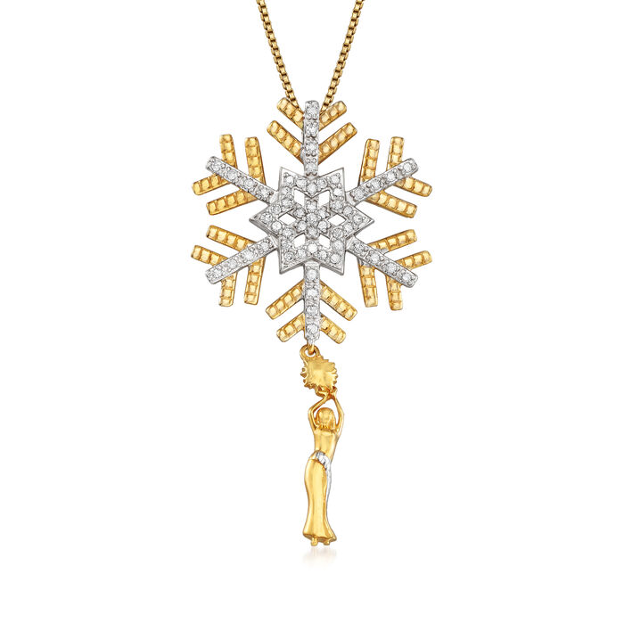 .25 ct. t.w. Diamond Snowflake with Woman Pendant Necklace in Sterling Silver and 18kt Gold Over Sterling