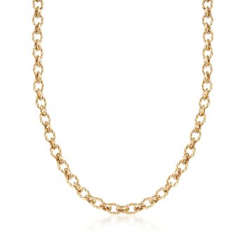 14kt Yellow Gold Oval and Circle Link Necklace