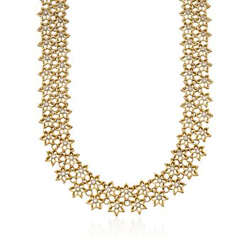 "C. 1980 Vintage 4.25 ct. t.w. Floral Diamond Necklace in 18kt Yellow Gold. 16"", , default"