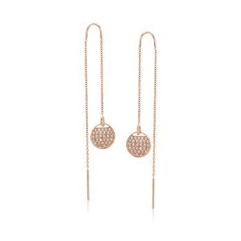 "Swarovski Crystal ""Ginger"" Crystal Threader Earrings in Rose Gold Plate, , default"