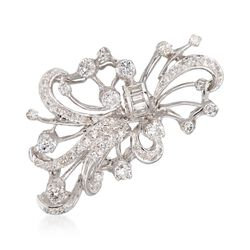 C. 1950 Vintage 1.70 ct. t.w. Diamond Floral Spray Pin in 14kt White Gold, , default