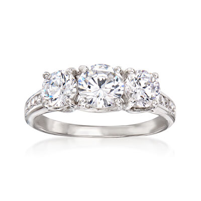 1.92 ct. t.w. CZ Three-Stone Ring in Sterling Silver
