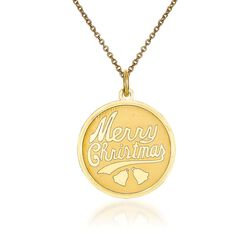 "14kt Yellow Gold Merry Christmas Pendant Necklace. 18"", , default"