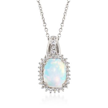 """Opal and .26 ct. t.w. White Topaz Pendant Necklace in Sterling Silver. 18"""", , default"""