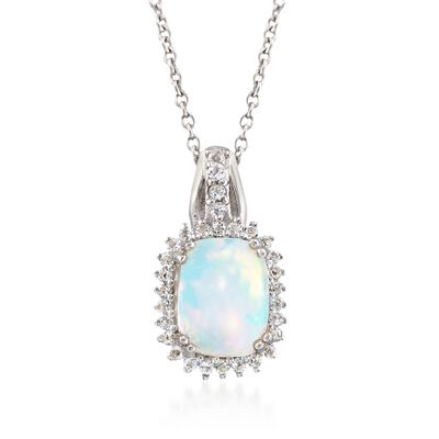 Opal and .26 ct. t.w. White Topaz Pendant Necklace in Sterling Silver, , default