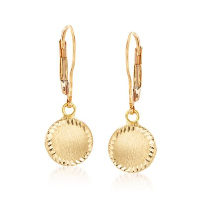 Italian 18kt Yellow Gold Circle Drop Earrings, , default