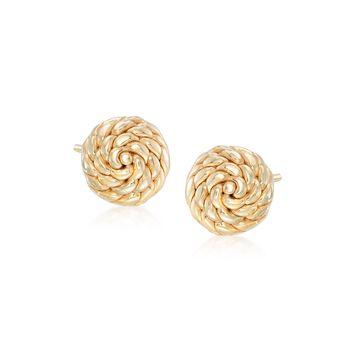 Italian 14kt Yellow Gold Roped Knot Stud Earrings, , default