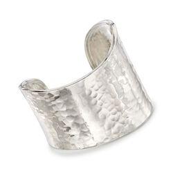 Sterling Silver Hammered Wide Cuff Bracelet, , default