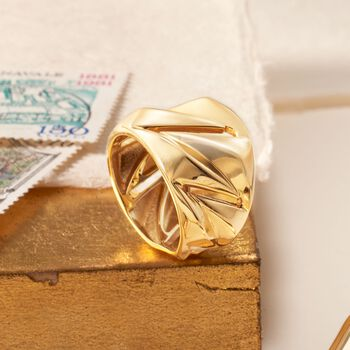 Italian 18kt Yellow Gold Geometric Ring. Size 5, , default