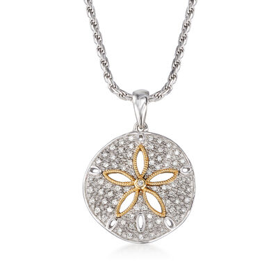 .20 ct. t.w. Diamond Sand Dollar Pendant Necklace in Sterling Silver and 14kt Yellow Gold, , default