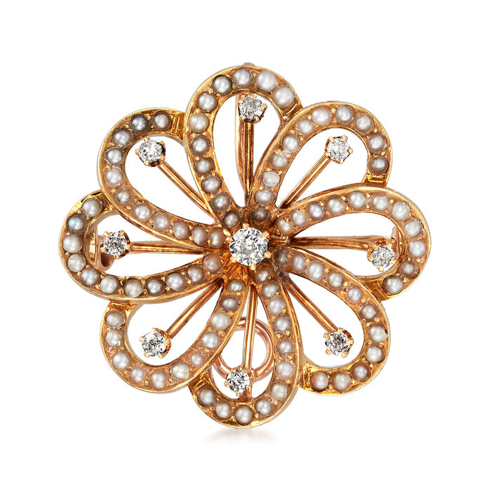 C. 1930 Vintage .25 ct. t.w. Diamond and Seed Pearl Flower Pin Pendant in 14kt Yellow Gold